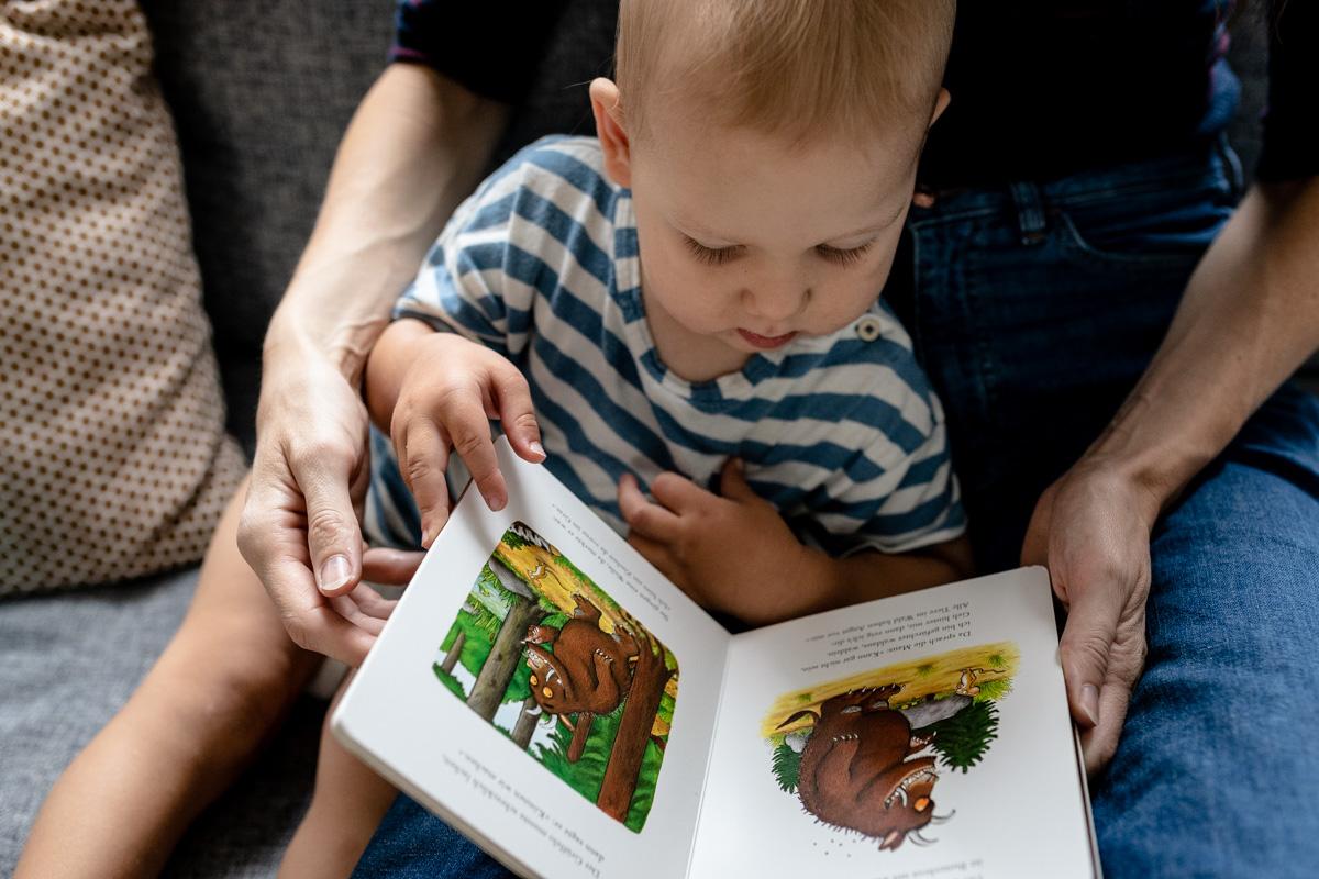 Kleiner Junge schaut sich mit einem Erwachsenen ein Buch an.