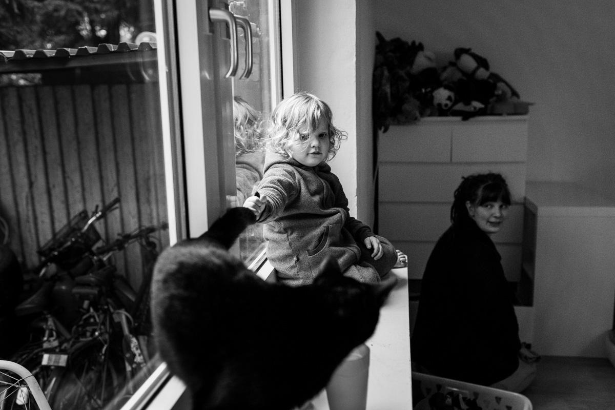 Ein Mädchen sitzt auf dem Fensterbrett und hält seine Katze am Schwanz fest. Mutter schaut skeptisch im Hintergrund